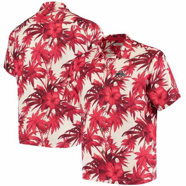 トッミーバハマ メンズ シャツ トップス Ohio State Buckeyes Tommy Bahama Harbor Island Hibiscus ButtonUp Shirt Scarlet