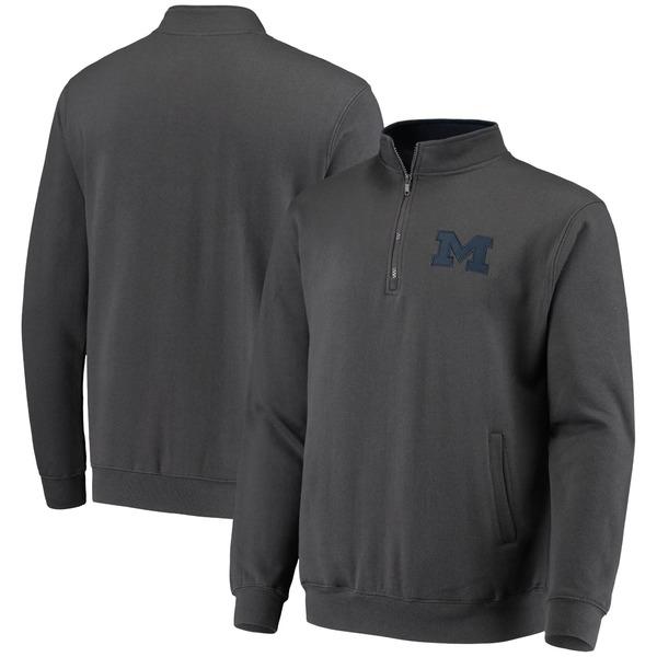 コロシアム メンズ ジャケット&ブルゾン アウター Michigan Wolverines Colosseum Tortugas Logo QuarterZip Jacket White