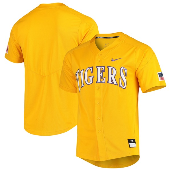 ナイキ メンズ ユニフォーム トップス LSU Tigers Nike Vapor Untouchable Elite FullButton Replica Baseball Jersey Gold