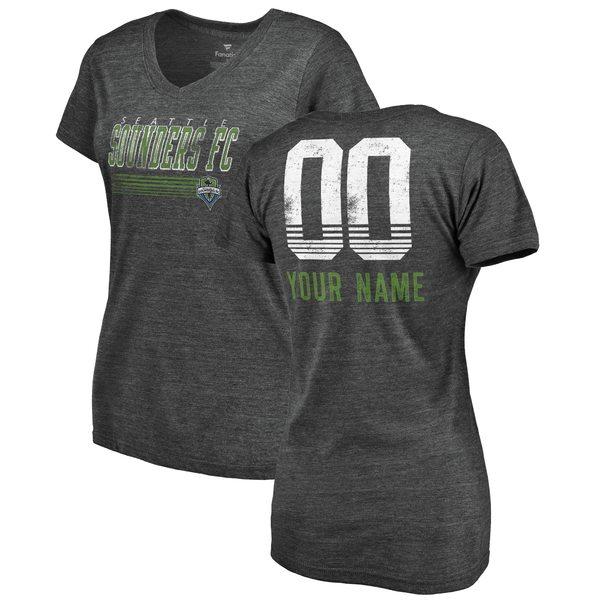 ファナティクス レディース Tシャツ トップス Seattle Sounders FC Fanatics Branded Women's Fast Pass TriBlend Personalized VNeck TShirt Heather Charcoal