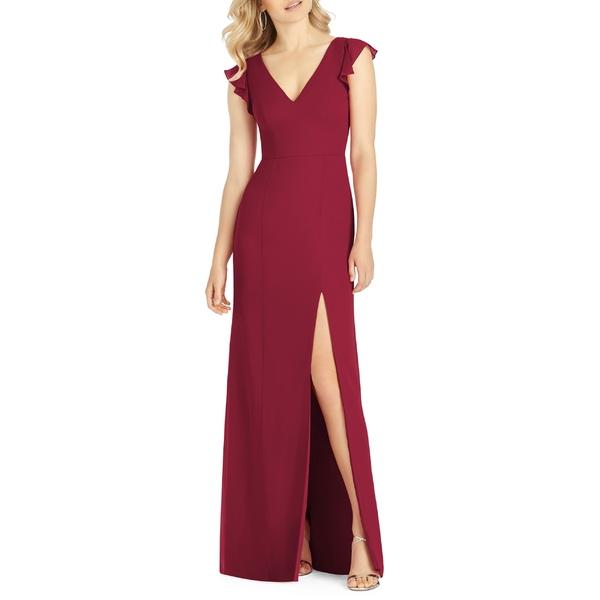 アフターシックス レディース ワンピース トップス After Six V-Neck Ruffle Sleeve Evening Dress Burgundy