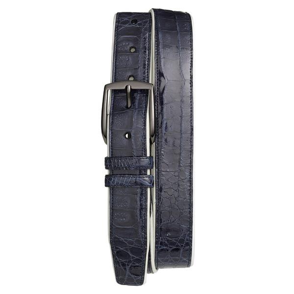 メズラン メンズ ベルト アクセサリー Mezlan 'Saratoga' Genuine Crocodile Leather Belt Blue