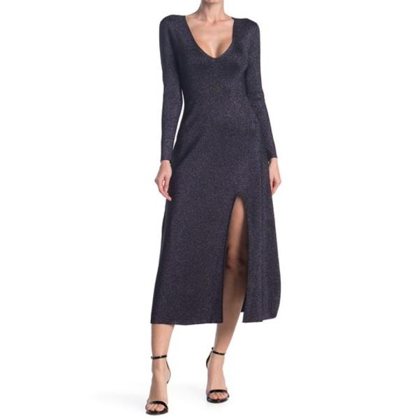 エーエルシー レディース ワンピース トップス Serafina Shimmer Knit Slit Midi Dress BLACKLAVE