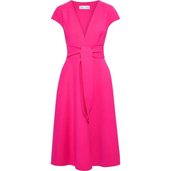 オスカー デ ラ レンタ レディース ワンピース トップス Belted wool-blend crepe dress Pink