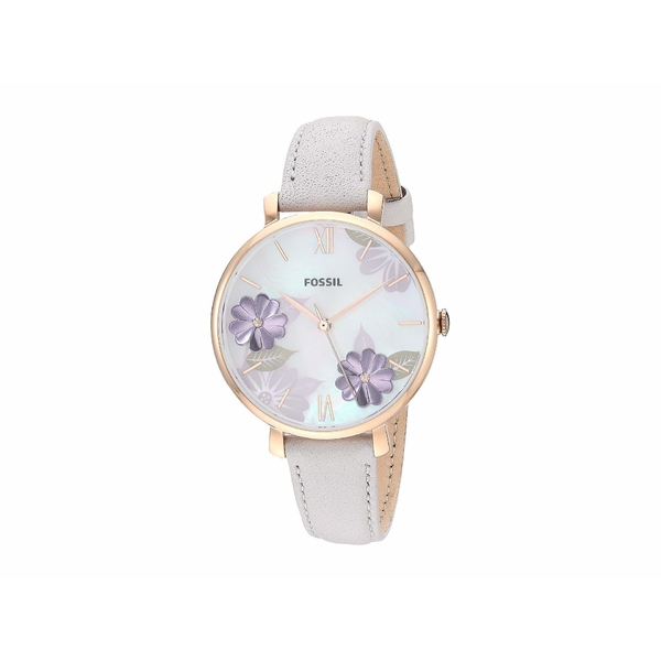 フォッシル レディース 腕時計 アクセサリー Jacqueline Three-Hand Leather Watch ES4672 Rose Gold Mineral Gray Leather