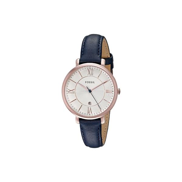 フォッシル レディース 腕時計 アクセサリー Jacqueline Three-Hand Leather Watch ES3843 Rose Gold Navy Leather