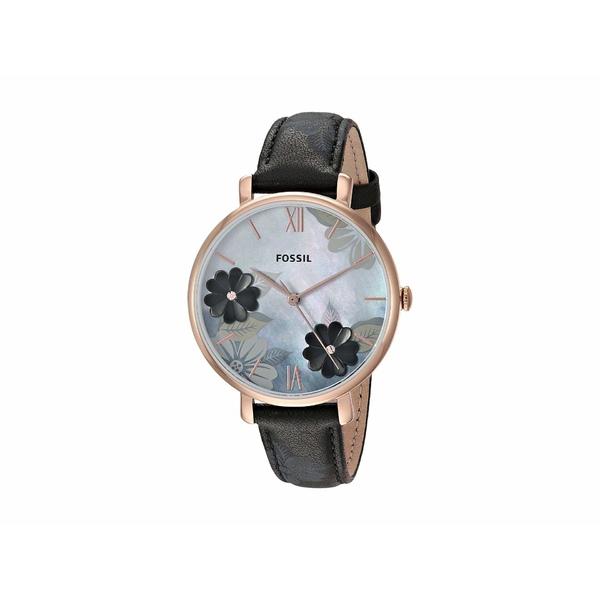 フォッシル レディース 腕時計 アクセサリー Jacqueline Three-Hand Leather Watch ES4535 Rose Gold Black Floral Leather