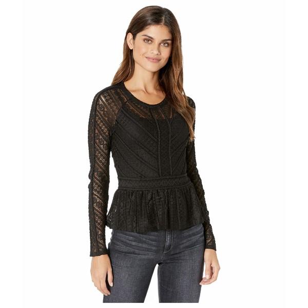 ビーシービージーマックスアズリア レディース シャツ トップス Long Sleeve Stretch Lace Top Black