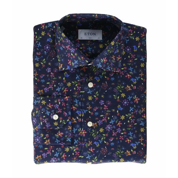 エトン メンズ シャツ トップス Slim Fit Twill Floral Print Button-Down Navy