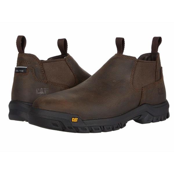 キャタピラー メンズ スニーカー シューズ Outline Slip-On Steel Toe Dark Brown
