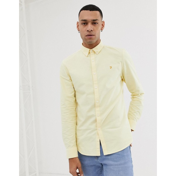 ファーラー メンズ シャツ トップス Farah Brewer slim fit oxford shirt in yellow Yellow