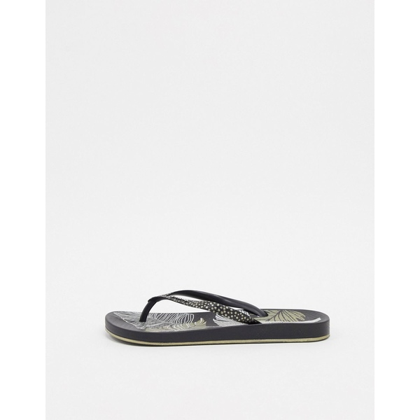イパネマ レディース サンダル シューズ Ipanema Anatomica Nature Leaf flip flop sandal in black Leaf black