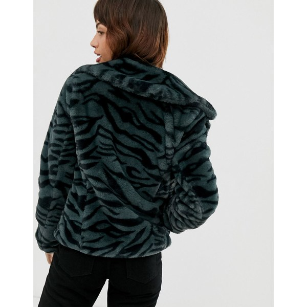 グースクラフト レディース コート アウター Goosecraft faux fur jacket with zebra detail Gray black zebra