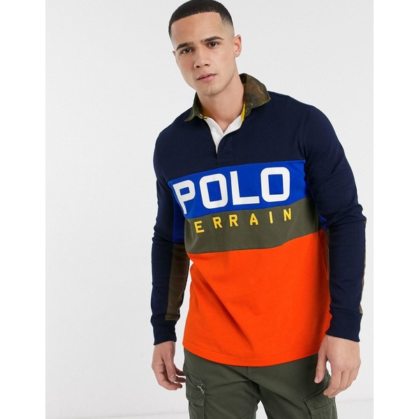 ラルフローレン メンズ ポロシャツ トップス Polo Ralph Lauren regular fit polo terrain logo in navy Navy