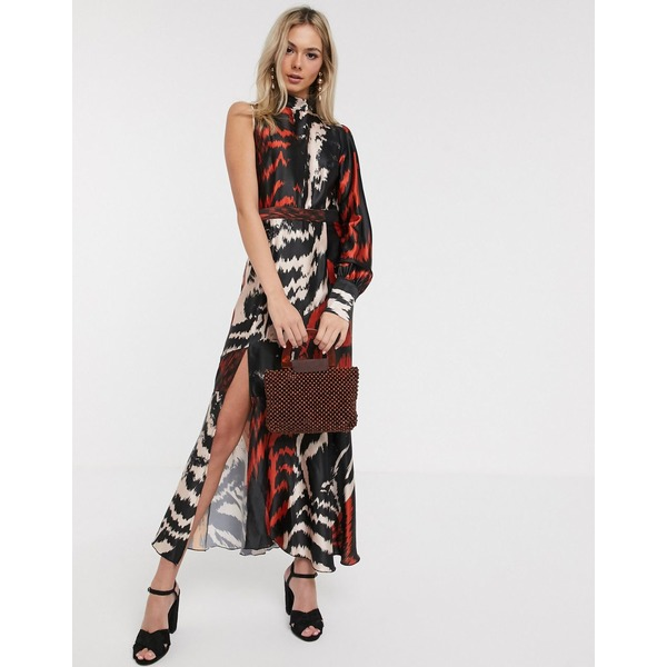 リクオリッシュ レディース ワンピース トップス Liquorish satin midaxi dress with one shoulder in abstract print Multi abstract