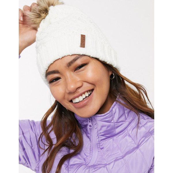 ロキシー レディース 帽子 アクセサリー Roxy Snow Blizzard Bobble beanie in white Bright white