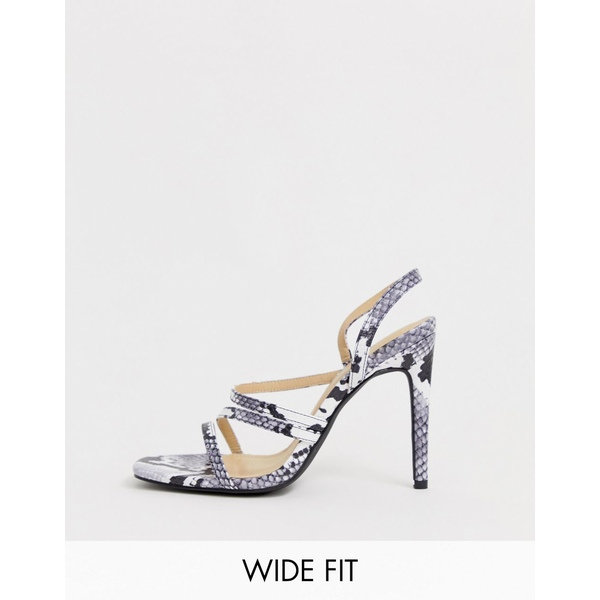 トゥラッフル レディース サンダル シューズ Truffle Collection Wide Fit snake print strappy stiletto square toe heeled sandals Snake