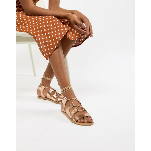 サウスビーチ レディース サンダル シューズ South Beach Rose Gold Gladiator Sandals Metallic rose gold