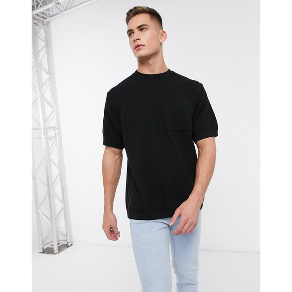 リバーアイランド メンズ Tシャツ トップス River Island oversized knitted t-shirt in black Black
