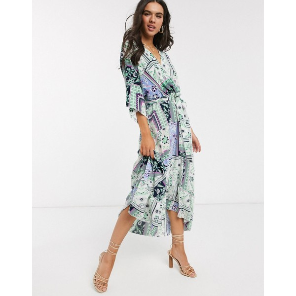 リクオリッシュ レディース ワンピース トップス Liquorish wrap front maxi dress with hi-low hem in patchwork floral print Multi