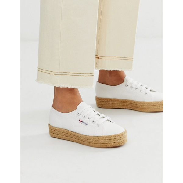 スペルガ レディース スニーカー シューズ Superga 2790 espadrille flatform sneakers in white White