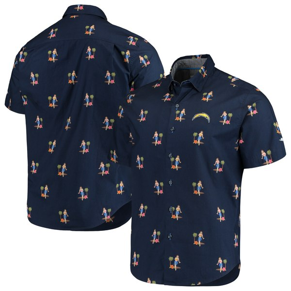 トッミーバハマ メンズ シャツ トップス Los Angeles Chargers Tommy Bahama Hula Oasis Woven ButtonUp Shirt Navy