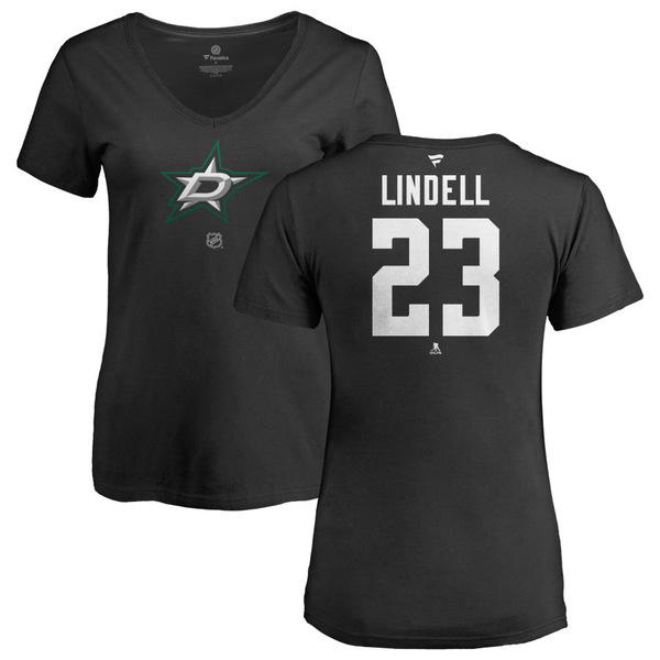 ファナティクス レディース Tシャツ トップス Dallas Stars Fanatics Branded Women's Personalized Team Authentic VNeck TShirt Black