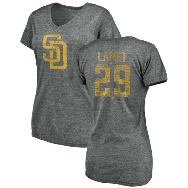 ファナティクス レディース Tシャツ トップス San Diego Padres Fanatics Branded Women's Heritage Personalized TriBlend VNeck TShirt Heathered Gray