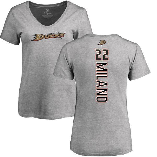 ファナティクス レディース Tシャツ トップス Anaheim Ducks Fanatics Branded Women's Personalized Playmaker Slim Fit VNeck TShirt Heather Gray