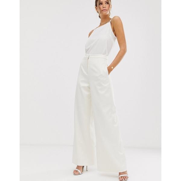 エイソス レディース カジュアルパンツ ボトムス ASOS EDITION wide leg wedding pants in satin Oyster