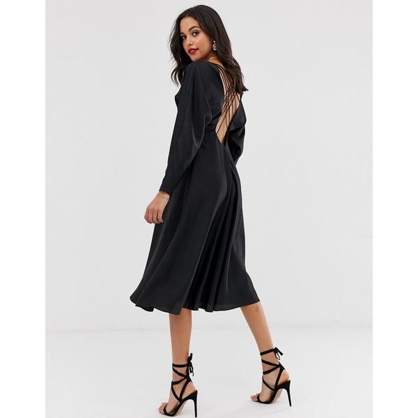 エイソス レディース ワンピース トップス ASOS EDITION lattice back midi dress in satin Black