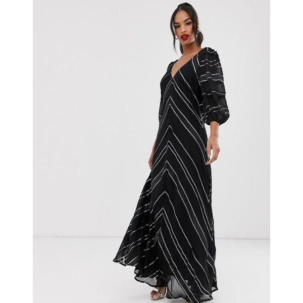 エイソス レディース ワンピース トップス ASOS EDITION sequin & ribbon trapeze maxi dress Black