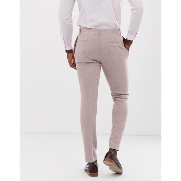 エイソス メンズ カジュアルパンツ ボトムス ASOS DESIGN wedding skinny suit pants in pink herringbone Gray