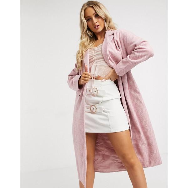 インザスタイル レディース コート アウター In The Style heritage belted coat in pink check Pink check