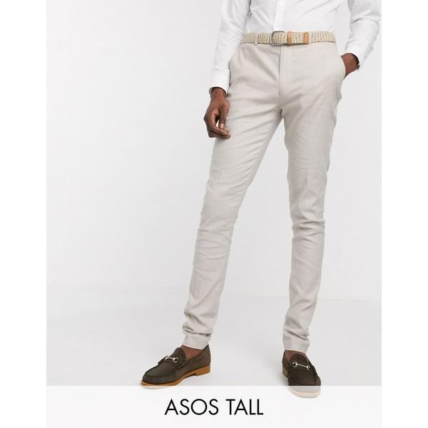 エイソス メンズ カジュアルパンツ ボトムス ASOS DESIGN Tall wedding super skinny suit pants in stretch cotton linen in stone Stone