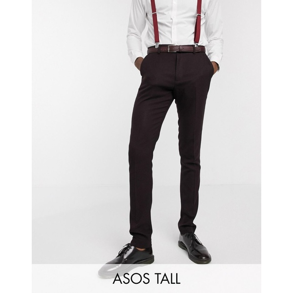 エイソス メンズ カジュアルパンツ ボトムス ASOS DESIGN Tall wedding skinny suit pants in wool look in burgundy Burgundy