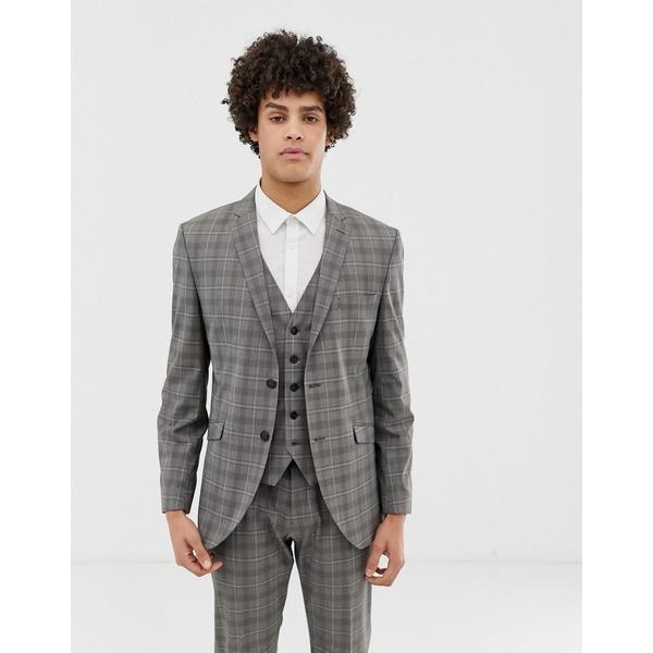 セレクテッドオム メンズ ジャケット&ブルゾン アウター Selected Homme slim suit jacket in gray sand check Sand