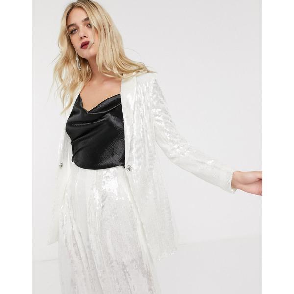 エイソス レディース ジャケット&ブルゾン アウター ASOS EDITION slim blazer in sequin Pale silver