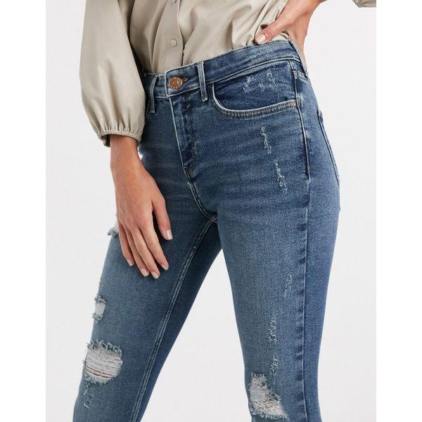 リバーアイランド レディース デニムパンツ ボトムス River Island Amelie ripped skinny jeans in mid wash blue Mid wash