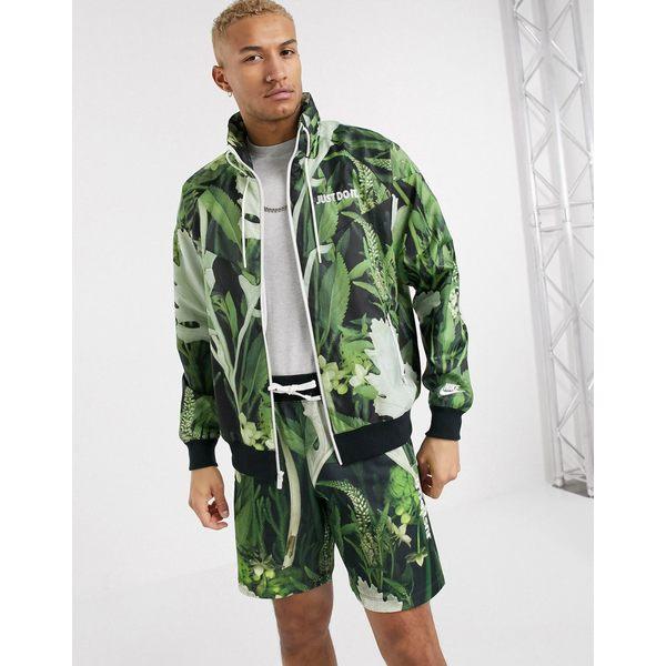 ナイキ メンズ ジャケット&ブルゾン アウター Nike Just Do It zip-through windbreaker jacket in tropical leaf print Tropical leaf print
