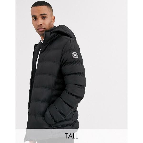 グッドフォーナッシング メンズ ジャケット&ブルゾン アウター Good For Nothing hooded puffer jacket in black Black