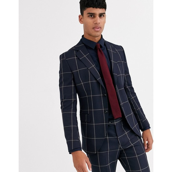 ジャック アンド ジョーンズ メンズ ジャケット&ブルゾン アウター Jack & Jones Premium skinny fit window pane double breasted suit jacket in navy Dark navy