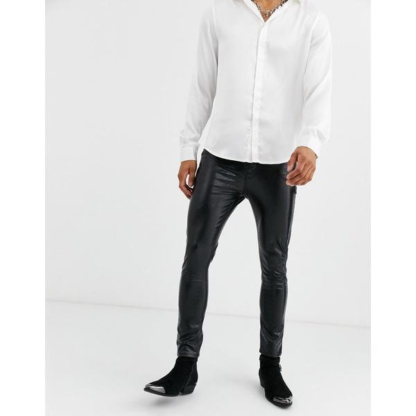 エイソス メンズ デニムパンツ ボトムス ASOS DESIGN 'Cigarette' skinny coated leather look jeans in black crocodile Black