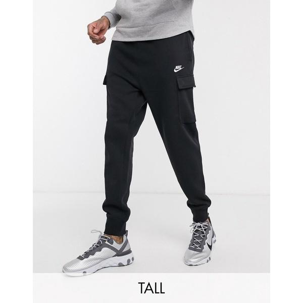 ナイキ メンズ カジュアルパンツ ボトムス Nike Club Tall cuffed cargo sweatpants in black Black