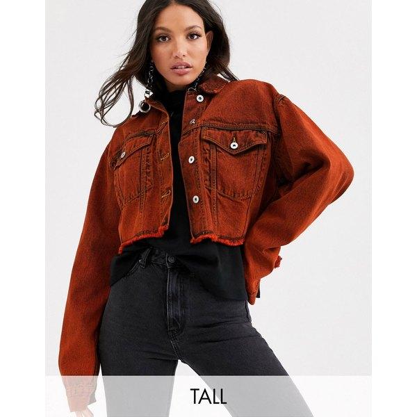 コリュージョン レディース ジャケット&ブルゾン アウター COLLUSION Tall cropped jacket in overdyed red Red