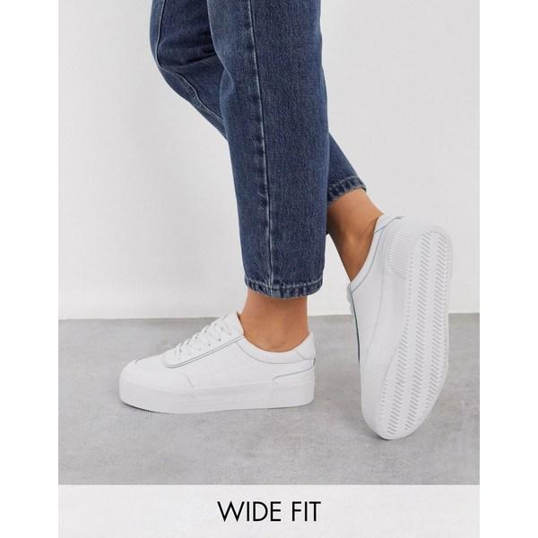 エイソス レディース スニーカー シューズ ASOS DESIGN Wide Fit Dynamic leather chunky sneakers in white White leather