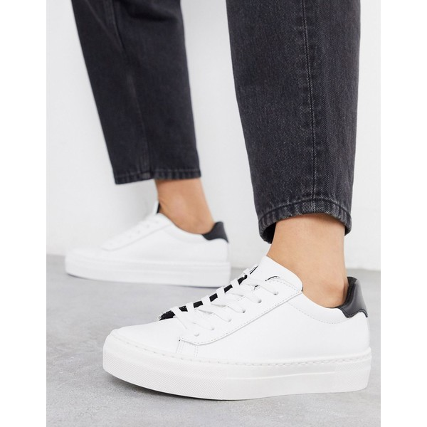エイソス レディース スニーカー シューズ ASOS DESIGN Dora leather lace up sneakers in white White
