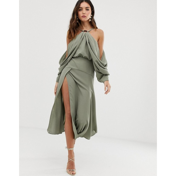 エイソス レディース ワンピース トップス ASOS EDITION drape sleeve midi dress with ring detail Khaki