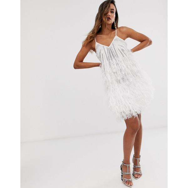 エイソス レディース ワンピース トップス ASOS EDITION sequin cami mini dress with faux feather hem White