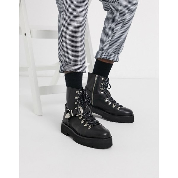 エイソス メンズ ブーツ&レインブーツ シューズ ASOS EDITION lace up boot with buckle detail in black Black